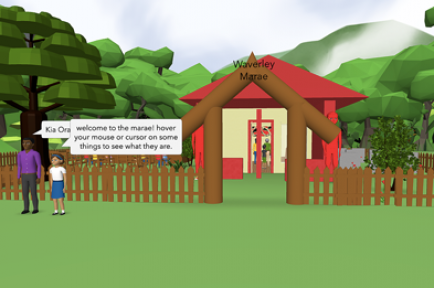 A screen shot of a students' presentation showing arriving at a marae