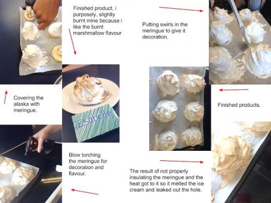 Annotated photos of the process of making baked alaska