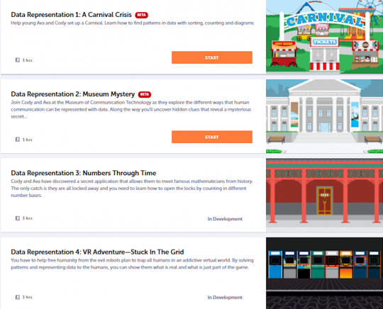Screenshot of some lesson topics available.