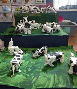 Clay models of cows