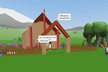 Screen shot of student created marae with people being welcoming