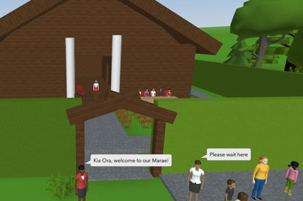 Digital wharenui with people asking the guests to wait at the entrance of the marae