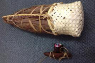 Tītī/mutton bird storage bag made from kelp and harakeke