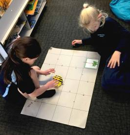 two students programming a beebot to follow a course