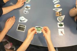 students sorting kitchen item images as technological systems