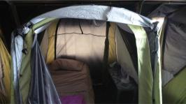 Image of the inside of an accommodation tent