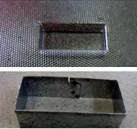 Mould and metal cutter for bars.