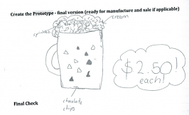 Student's drawing of a muffin in a mug