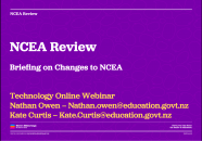 Title slide for the NCEA Review webinar