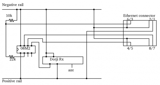 Schematic for radio receiver picaxe to raspberry pi collector module version 2