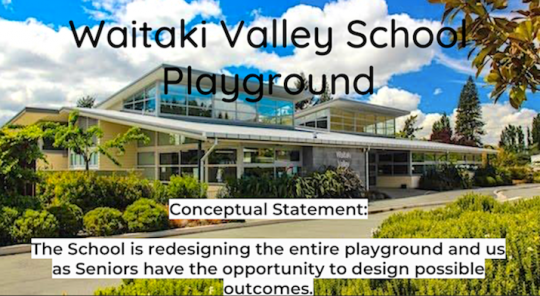 Conceptual statement: The school is redesigning the entire playground and we have and opportunity to design possible outcomes.