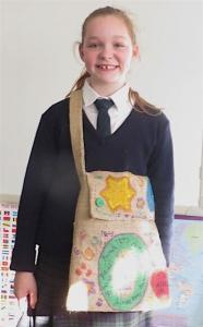 Student wearing her library bag