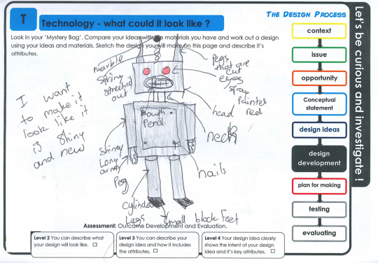 Robot character student worksheet