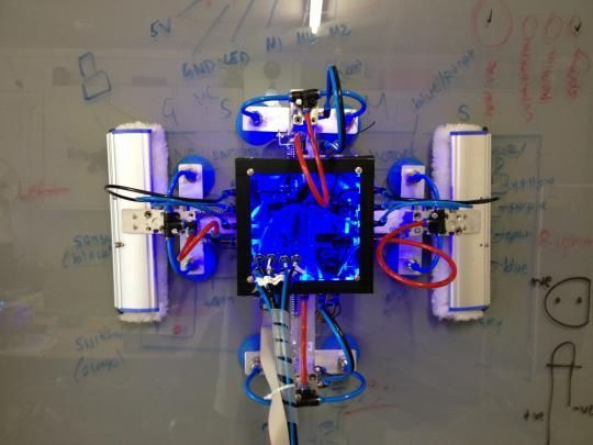 Robotic window cleaner prototype 2 on a whiteboard