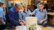 Steve Andrews and students doing the water bucket test