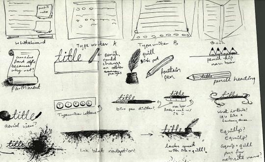 Sketches of writing website concepts for design