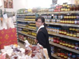 Student shopping for ingredients