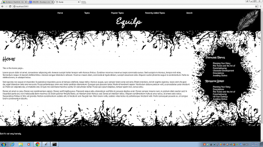 Writing website home page.