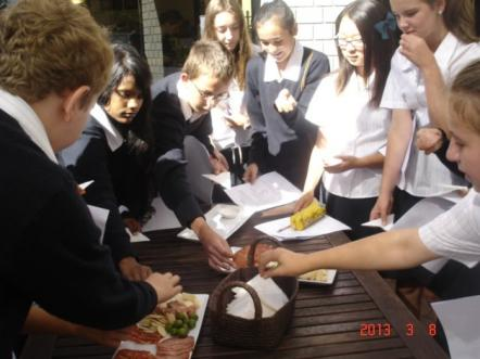 Students tasting food
