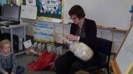 Primary teacher showing wool to the class