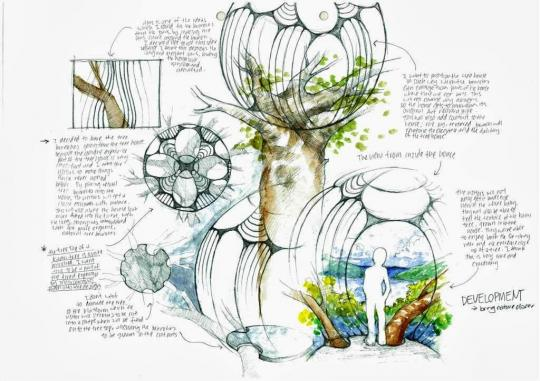 Treehouse design development sketches