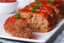 Plate of meatloaf