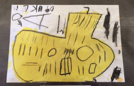 Yellow submarine pre-school drawing