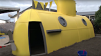 Finished yellow submarine playhouse in play area