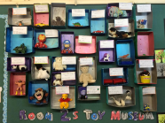 toys displayed on classroom wall