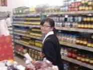 Student in the food aisle