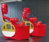 Platform shoes made by a student