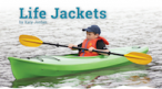 Title and photo of a boy in a kayak wearing a life jacket.
