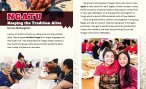 The first two pages of Ngatu: Keeping the Tradition Alive, photographs of the women seated around a table as they prepare to make ngatu (tapa cloth)