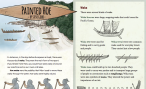 The first two pages of a painted hoe, illustrations of waka