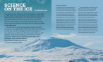 The first two pages of science on the ice. A large photo of a snow vehicle pulling luggage through the snow.